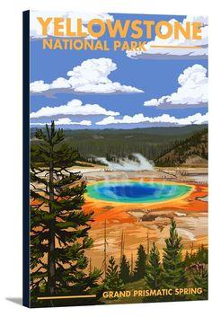 Yellowstone National Park, Wyoming - Grand Prismatic Spring - Lantern Press Artwork