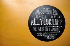 Custom song lyrics on repurposed vinyl records .. would make great wall art