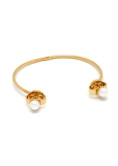 Maria Francesca Pepe SS17 'PRINCESS OF PEARLS' CUFF BRACELET WITH PEARL CHARMS Bangles, Bracelets, Charms, Feminine, Pearl, Princess, Earrings, Gold, Jewelry