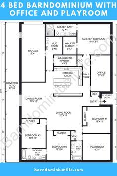 Barn Homes Floor Plans, Pole Barn House Plans, Family House Plans, Pole Barn Homes, Barn Plans, Bedroom House Plans, New House Plans, Dream House Plans, House Floor Plans