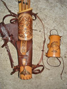 Multifunctional Tooled Leather Quiver For Bow by MadeOfLeather