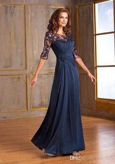 Mother off bride dresses 2016 Jewel Neck Half Sleeves Navy Blue Lace Appliques Plus Size Mother Of the Bride Gowns Wedding Guest Dress