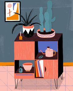 Cabinet in Warm Tones Art Print by Alexander Mostov - X-Small Pattern Illustration, Character Illustration, Graphic Illustration, House Illustration, Book Projects, Picture On Wood, Illustrations Posters, Screen Printing, Adobe Illustrator