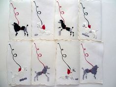 EXCELLENT matching set of eight different vintage cocktail napkins with black, white, and gray FRENCH POODLES on leashes. Fabric is soft white Irish linen with all Madeiran hand embroidery. French Poodles, Cocktail Napkins, Kitsch, Hand Embroidery, Needlework, Cocktails, Vintage Stuff, Linens, Fabric