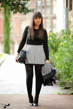 Cute Skirt Outfits, Hot Outfits, Dressy Outfits, Cute Skirts, Pantyhose Outfits, Tights Outfit, Black Opaque Tights, Girls In Mini Skirts, Leather Jacket Outfits