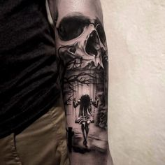 Idk the meaning for the person - but for me Its childhood, a young girl in honest thought maybe even desperate thoughts, with Death as an inescapable Fate'.>>  Skull and swing tattoo