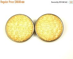 Vintage Coro Raffia Straw Button Earrings by TheFashionDen on Etsy