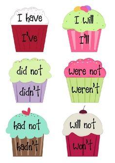 Cupcake Contraction Sort - Miss N - TeachersPayTeachers.com