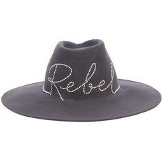 Eugenia Kim Women Harlowe Rebel Wool Felt Fedora Hat (8.394.750 IDR) ❤ liked on Polyvore featuring accessories, hats, grey, wide brim fedora hat, grey hat, wide brim felt fedora, felt hat and wide brim fedoras