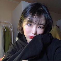 Ulzzang Short Hair, Korean Short Hair, Short Straight Hair, Girl Short Hair, Ideal Beauty, Asian Beauty, Hairstyles With Bangs, Straight Hairstyles, Light Bangs