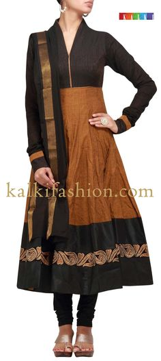 Buy it now  http://www.kalkifashion.com/anarkali-suit-in-brown-with-zari-work.html  Anarkali suit in brown with zari work