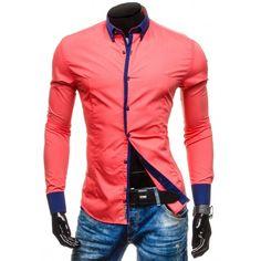 055b7c486e0e Pánske košele s dlhým rukávom · Pánska červená košeľa s modrým lemovaním -  fashionday.eu