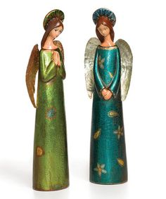 Look what I found on #zulily! Shimmer Angel Figurine - Set of Two #zulilyfinds