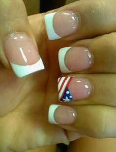 of July nails! Love this idea of white tips and then an American flag on one finger! Love Nails, How To Do Nails, Pretty Nails, My Nails, French Nails, Patriotic Nails, 4th Of July Nails, July 4th, Nagel Hacks