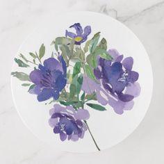 Pretty Purple Watercolor Floral Bouquet Trinket Trays