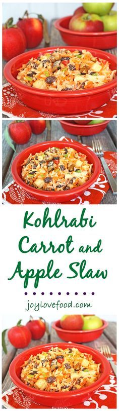 Kohlrabi Carrot and Apple Slaw - a delicious, crunchy salad, that is full of flavor, and great as a side dish, in the lunchbox or for a fall party.