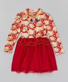 Look at this #zulilyfind! Red Floral Ruffle Dress - Toddler & Girls by Funkyberry #zulilyfinds