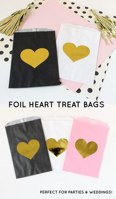 Gold Heart Treat Bags - perfect for parties or a gold wedding #goldwedding - also available in silver foil