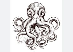 Vintage octopus illustration Temporary Tattoo by PixieandNixie