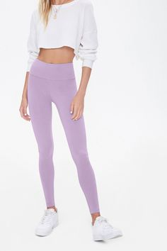 Product Name:Basic Cotton-Blend Leggings, Category:CLEARANCE_ZERO, Price:5.99 Grey Leggings Outfit, Basic Leggings, Cute Leggings, Knit Leggings, Cotton Leggings, Teen Fashion Outfits, Outfits For Teens, Gym Outfits, Forever 21 Leggings