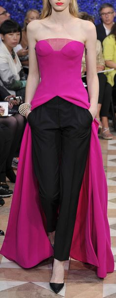 black + magenta / classic. women's fashion. dress over pants.