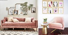 Elegant, sleek and glamorous, blush velvet seating is the stylish way to add an instant hit of retro sophistication to your interior. Velvet Furniture, Living Room Furniture, World Of Interiors, Storage Hacks, Easter Table, Pink Velvet, Living Spaces, Gallery Wall, Colours