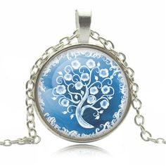 Frost Blue and White Glass Pendant Necklace with Silver Chain