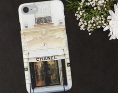 Chanel telefoon geval, Chanel Paris winkel, aquarel telefoon Case, iPhone 6 7 Plus, Samsung Galaxy Case, luxe modeontwerper telefoon portemonnee