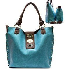 Buy New: $41.99 : Metal Studs / Lock Closure Purse and Bag / Handbag / Bag in Bag/ Blue / Rchja2513blu [ Limited Stock ]