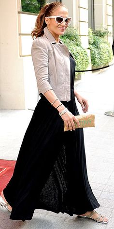 JENNIFER LOPEZ photo | Jennifer Lopez  Black maxi dress +neutral jacket + sandals