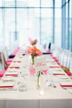 Real Weddings a pink-infused party at the Gardiner Museum Coral, Real Weddings, Table Settings, Museum, Table Decorations, Party, Pink, Photography, Inspiration