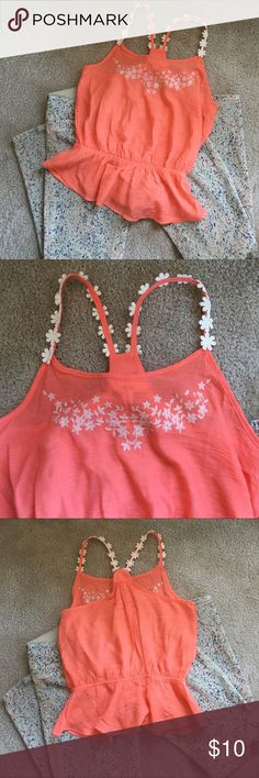 Cute Summer Top Coral with cream embroidery and flower appliqués as pictured. Jeans for sale in another listing. GUC Tops Blouses