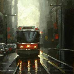 Toronto Streetcar 2 by Catherine Jeffrey Road Painting, City Painting, Toronto City, Toronto Canada, Watercolor City, Watercolour, Toronto Neighbourhoods, Watercolor Architecture, Canadian Art