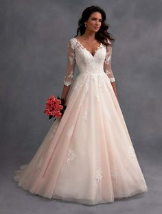 Blush pink wedding dress with ball gown skirt by Alfred Angelo.                                                                                                                                                                                 More