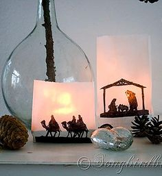 An easy last minute Christmas craft: use paper bags and a sharpie to create a silhouette nativity lantern. See more details at www.songbirdblog.com
