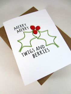 Merry Christmas Mistletoe Greeting Card by craftedbylindy