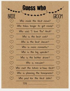 Guess Who Game – Printable Bridal Shower game – Instant download – great for modern bridal showers, boho bridal shower, rustic bridal shower, country bridal shower, vintage bridal shower, new bridal shower ideas and couples shower games, DIY bridal shower decorations