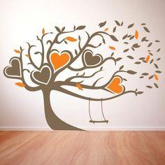 """Albero Con Altalena  Adesivo murale di alta qualità con pellicola opaca di facile installazione. Lo sticker si può applicare su qualsiasi superficie liscia: muro, vetro, legno e plastica.  L'adesivo murale """"Albero Con Altalena"""" è ideale per decorare l'ingresso e la camera da letto.  E' possibile scegliere i due colori Colore 1 - albero altalena cuori e foglie (marrone in foto) Colore 2 - Cuori e foglie (arancione in foto)"""