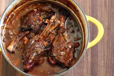 These flavorful, tender lamb shanks are oven braised to perfection with vegetables and a wonderfully seasoned red wine broth. Lamb Shanks Oven, Braised Lamb Shanks, Braised Pork, Crock Pot Lamb Shank Recipe, Crockpot Lamb, Dutch Oven Cooking, Dutch Oven Recipes, Cooking Recipes, Staub Dutch Oven