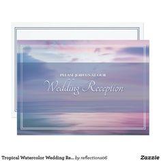Tropical Watercolor Wedding Reception Invitation