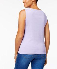 Karen Scott Cotton Sleeveless Crew-Neck Top, Created for Macy's - Tan/Beige XXL