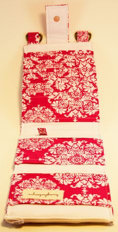 Women's Wallet  Organizer with Card Slots - 2 in 1 - Pink and White Damask - pinned by pin4etsy.com