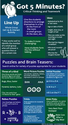 Love these ideas for quick critical thinking and teamwork activities! #5MinuteFillers
