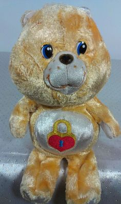 Carlton Cards Gold Golden Care Bears Red Heart Bear Stuffed Animal Plush Beanie  #CarltonCards