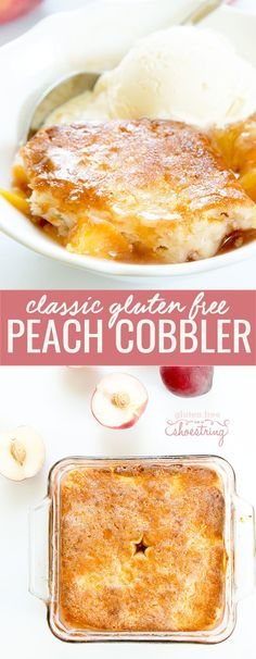 This gluten free peach cobbler is packed with lightly spiced fresh fruit and topped with an easy biscuit dough. One of summer's simple pleasures!