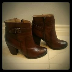 BRAND NEW Frye Brown Leather booties Never worn real brown leather booties with about a 3 inch heel. Frye Shoes Ankle Boots & Booties