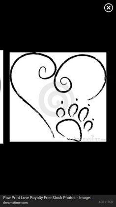 heart tattoo with paw print | love heart with paw print | Tatboard.com