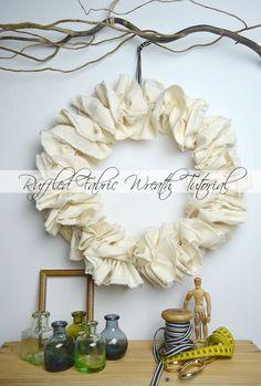 Ruffled Fabric Wreath Tutorial