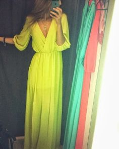 Fashion for girls 2014:Beautiful long yellow flowy dress for ladies