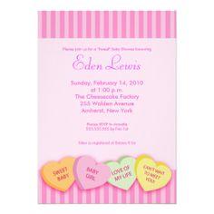 Valentines Day Conversation Heart Baby Shower Custom Invitation